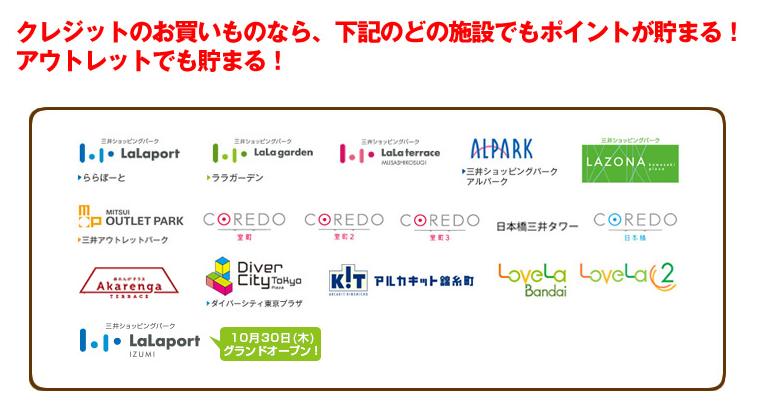 三井ショッピングパークカードセゾン対象店舗