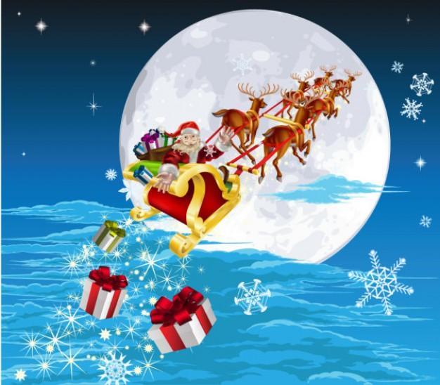 サンタクロース画像トナカイとプレゼント
